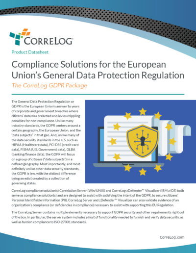CorreLog: Compliance Solutions for GDPR